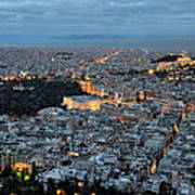 View Of Athens During Dawn Poster