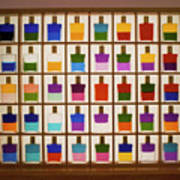 View Of Bottles Used In Aura Soma Colour Therapy Poster