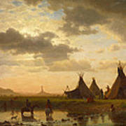 View Of Chimney Rock Ohalila .sioux Village In The Foreground Poster