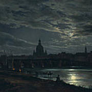 View Of Dresden By Moonlight Poster