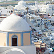 View Of Fira With Famous Church Santorini Greece Poster