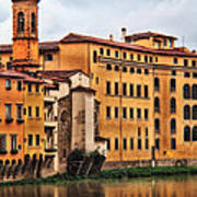 View Of Florence Along The Arno River Poster