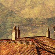 View Of Lake Como Over The Rooftop Of Villa Monastero Poster
