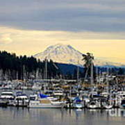 View Of Mt. Rainier From Gig Harbor Wa Poster