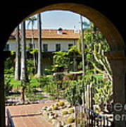 View Of Santa Barbara Mission Courtyard Poster
