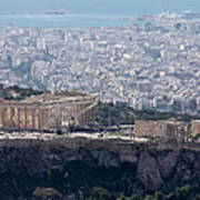 View Of The Acropolis From Lykavittos Hill Poster