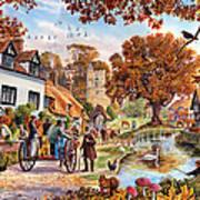 Village In Autumn Poster