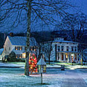 Village Of New Milford - Winter Panoramic Poster by Thomas Schoeller