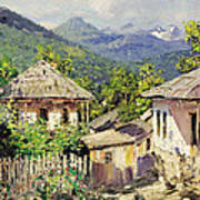 Village Scene In The Mountains Poster
