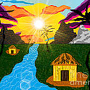 Village Under A Vibrant Sky Poster