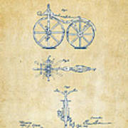 Vintage 1866 Velocipede Bicycle Patent Artwork Poster