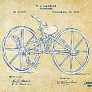 Vintage 1869 Velocipede Bicycle Patent Artwork Poster
