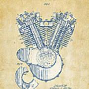 Vintage 1923 Harley Engine Patent Artwork Poster