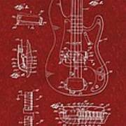 Vintage 1961 Fender Guitar Patent Poster