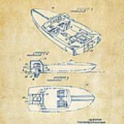 Vintage 1972 Chris Craft Boat Patent Artwork Poster
