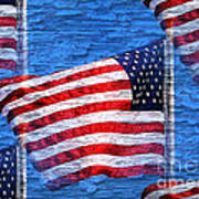 Vintage Amercian Flag Abstract Poster