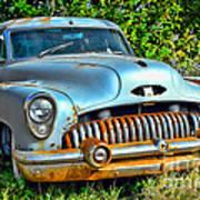 Vintage American Car In Yard Poster