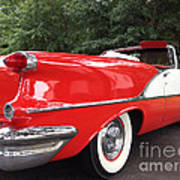Vintage American Car - Red And White 1955 Oldsmobile Convertible Classic Car Poster by Kathy Fornal