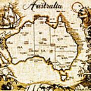 Vintage Australia Map Poster