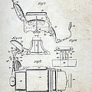 Vintage Barber Chair Patent Poster