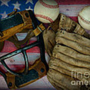 Vintage Baseball American Folk Art Poster