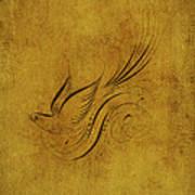 Vintage Bird On Gold Poster
