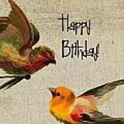 Vintage Birthday Birds Poster