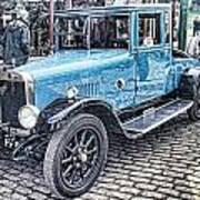 Vintage Blue Car 2 Poster