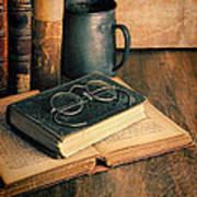 Vintage Books And Eyeglasses Poster