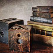 Vintage Cameras And Books Poster