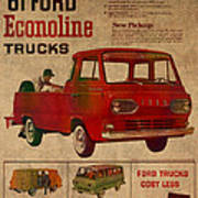 Vintage Car Advertisement 1961 Ford Econoline Truck Ad Poster On Worn Faded Paper Poster