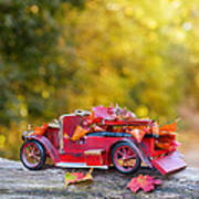 Vintage Car With Autumn Leaves Poster