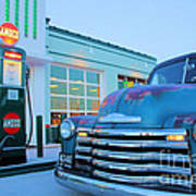 Vintage Chevrolet At The Gas Station Poster