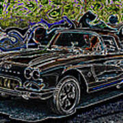 Vintage Chevy Corvette Black Neon Automotive Artwork Poster