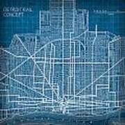 Vintage Detroit Rail Concept Street Map Blueprint Plan Poster