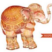 Vintage Elephant Illustration. Hand Poster