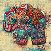 Vintage Elephant Poster by Karin Taylor