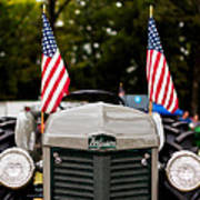 Vintage Ferguson Tractor With American Flags Poster