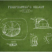 Vintage Firefighter Helmet Patent Drawing From 1932 - Green Poster
