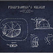 Vintage Firefighter Helmet Patent Drawing From 1932 - Navy Blue Poster