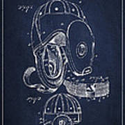 Vintage Football Helment Patent Drawing From 1927 Poster by Aged Pixel