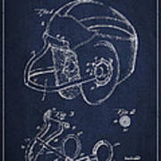 Vintage Football Helment Patent Drawing From 1935 Poster by Aged Pixel