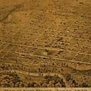 Vintage Fort Worth Texas In 1876 City Map On Worn Canvas Poster
