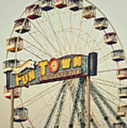 Vintage Funtown Ferris Wheel Poster
