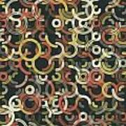 Vintage Geometric Circle Segment Pattern Poster