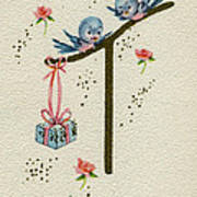 Vintage Greeting. Baby Bluebirds Bring Gift For New Infant Poster