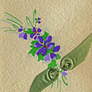 Vintage Greeting. Bouquet Of Purple Spray Flowers With Green Ribbon.  Poster