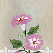 Vintage Greeting. Happy Flowers Along The Fence  Poster