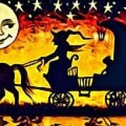Vintage Halloween Scene Poster