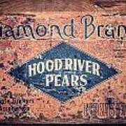 Vintage Hood River Pear Crate Poster